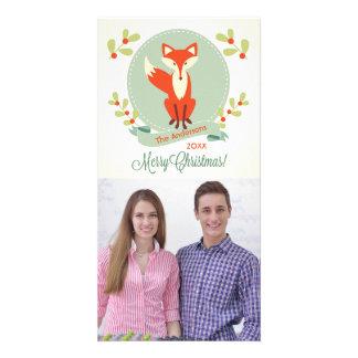 メリークリスマスのキツネ-クリスマスの写真カード カード