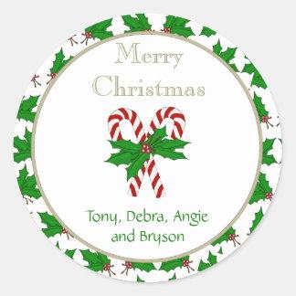 メリークリスマスのキャンディ・ケーンのコレクションのステッカー ラウンドシール