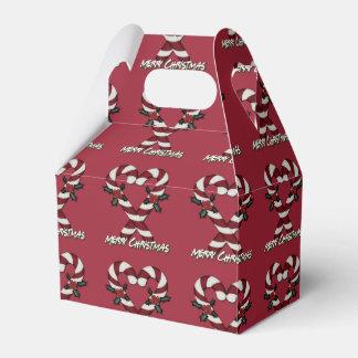 メリークリスマスのキャンディ・ケーンのハートの赤い好意箱 フェイバーボックス