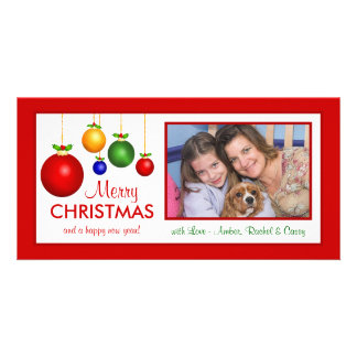 メリークリスマスのクラシックな休日の写真カード カード