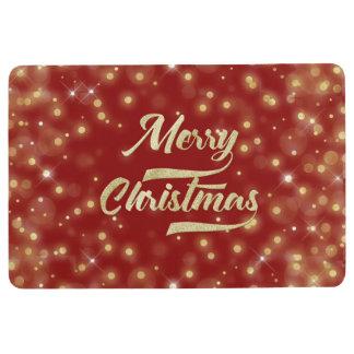 メリークリスマスのグリッターの《写真》ぼけ味の金ゴールドの赤 フロアマット