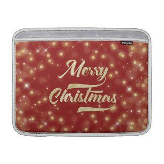 メリークリスマスのグリッターの《写真》ぼけ味の金ゴールドの赤 MacBook スリーブ
