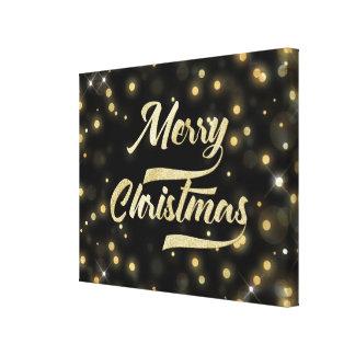 メリークリスマスのグリッターの《写真》ぼけ味の金ゴールドの黒 キャンバスプリント