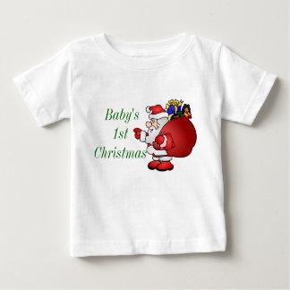 メリークリスマスのサンタのベビー第1 ベビーTシャツ