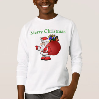 メリークリスマスのサンタのワイシャツ Tシャツ