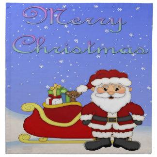 メリークリスマスのサンタの布のナプキン(4)の置いて下さい ナプキンクロス