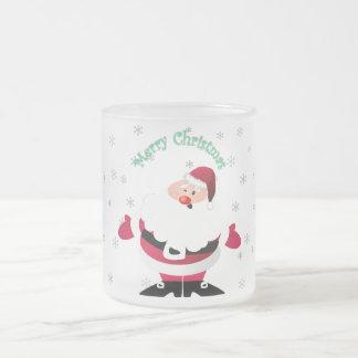 メリークリスマスのサンタの透明な背景 フロストグラスマグカップ