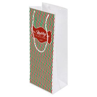 メリークリスマスのシェブロンの質 ワインギフトバッグ