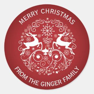 メリークリスマスのシカおよび渦巻の円形のステッカー ラウンドシール