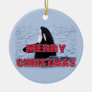 メリークリスマスのシャチのクジラのスパイのホツプのクリスマスOrnam セラミックオーナメント