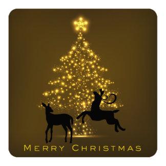 メリークリスマスのシルエットのシカおよび木カード 13.3 スクエアインビテーションカード