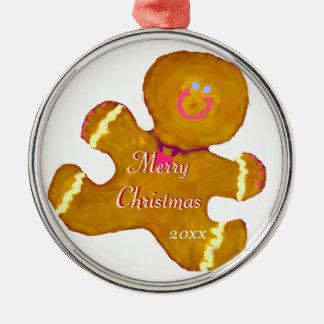 メリークリスマスのジンジャーブレッドのクッキー メタルオーナメント