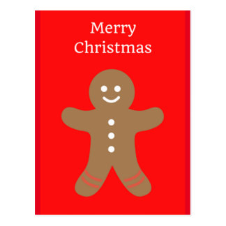 メリークリスマスのジンジャーブレッドマンの郵便はがき ポストカード