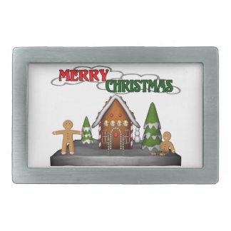 メリークリスマスのジンジャーブレッド場面 長方形ベルトバックル
