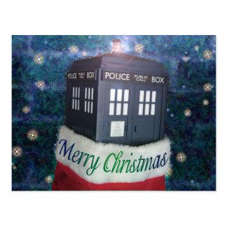 メリークリスマスのストッキングの青い警察箱 ポストカード