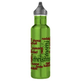 メリークリスマスのタイポグラフィの単語の雲 ウォーターボトル