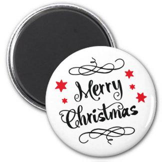 メリークリスマスのタイポグラフィの赤い白 マグネット