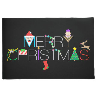 メリークリスマスのタイポグラフィ ドアマット