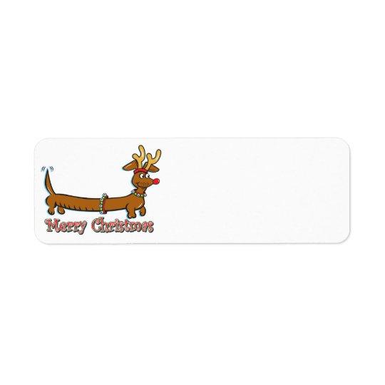 メリークリスマスのダックスフント 返信用宛名ラベル