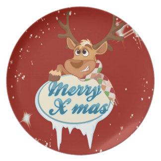 メリークリスマスのトナカイ プレート