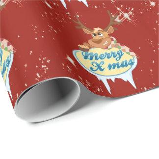 メリークリスマスのトナカイ ラッピングペーパー