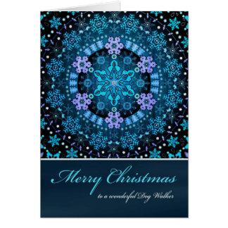 メリークリスマスのドッグウォーカー、Bohoの青い雪片 カード
