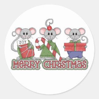 メリークリスマスのネズミ ラウンドシール