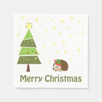 メリークリスマスのハリネズミの休日場面 スタンダードカクテルナプキン
