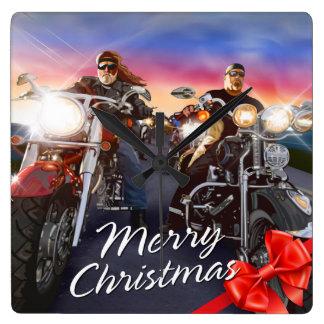 メリークリスマスのバイクもしくは自転車に乗る人1の時計の選択 スクエア壁時計