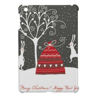メリークリスマスのバニーの白黒クリスマス iPad MINIケース