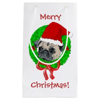 メリークリスマスのパグ スモールペーパーバッグ