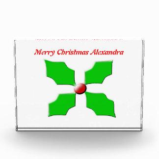 メリークリスマスのヒイラギのカスタマイズ可能な装飾 表彰盾