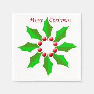 メリークリスマスのヒイラギの白いカクテルの紙ナプキン スタンダードカクテルナプキン