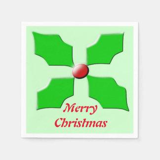 メリークリスマスのヒイラギの紙ナプキン スタンダードカクテルナプキン