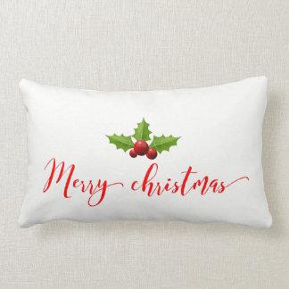 """メリークリスマスのヒイラギの綿の装飾用クッション13"""" x21 """" ランバークッション"""