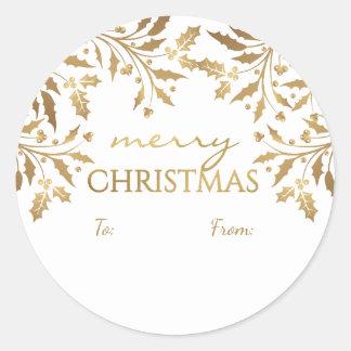 メリークリスマスのヒイラギの花輪の金ゴールドの金属ラベル ラウンドシール