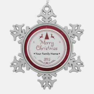 メリークリスマスのピューターのオーナメント-ちょうど名前を加えて下さい スノーフレークピューターオーナメント