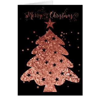 メリークリスマスのピンクおよび黒い魅力 カード