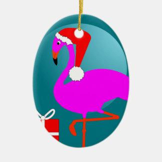 メリークリスマスのピンクのフラミンゴのかわいく粋なグラフィック セラミックオーナメント