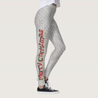 メリークリスマスのファッション-タータンチェックのタイポグラフィの銀 レギンス
