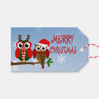 メリークリスマスのフクロウのギフトのラベル ギフトタグ