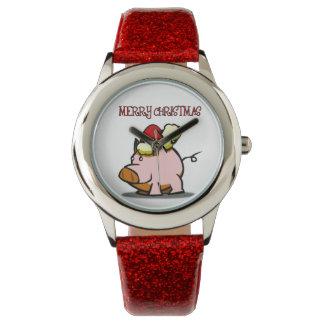 メリークリスマスのブタの腕時計 腕時計