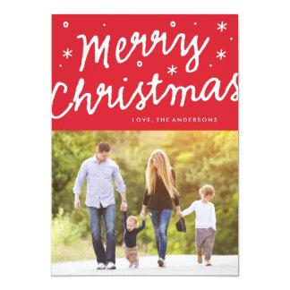 メリークリスマスのブラシのレタリングの休日の写真カード 12.7 X 17.8 インビテーションカード