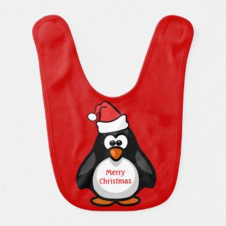 メリークリスマスのベビーのペンギンのサンタの帽子のかわいい赤 ベビービブ