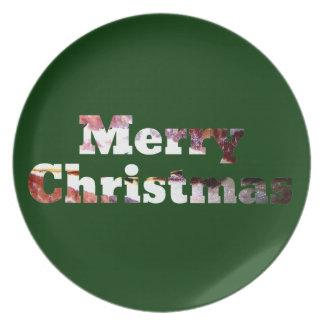 メリークリスマスのベーコンのプリント プレート