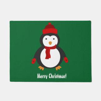 メリークリスマスのペンギンのドア・マット ドアマット