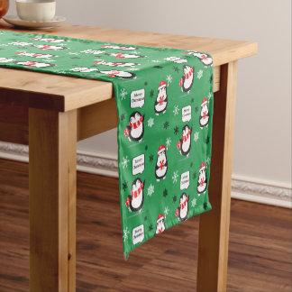メリークリスマスのペンギンの雪片のテーブルのランナー ショートテーブルランナー