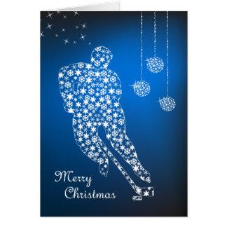 メリークリスマスのホッケーの雪片の挨拶状 カード