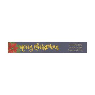メリークリスマスのポインセチアの休日の花柄海軍 ラップアラウンドラベル