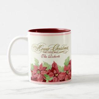 メリークリスマスのポインセチアの名前入りなギフトのマグ ツートーンマグカップ